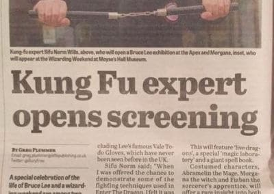 Ad in the Bury Free Press of the Demonstration of JKD at The Bruce Lee Exhibition at The Apex in Bury st Edmunds